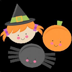 Cute Halloween Monsters Witch Pumpkin Spider SVG scrapbook cut file cute clipart files for silhouette cricut pazzles free svgs free svg cuts cute cut files