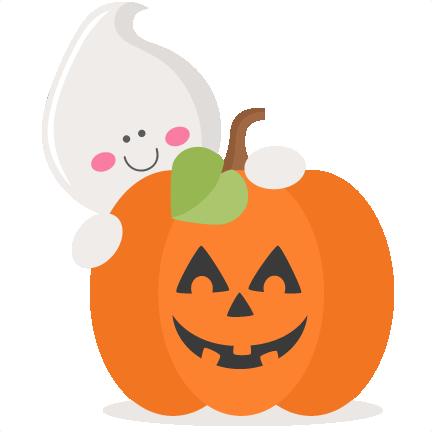Ghost With Pumpkin SVG scrapbook cut file cute clipart ...