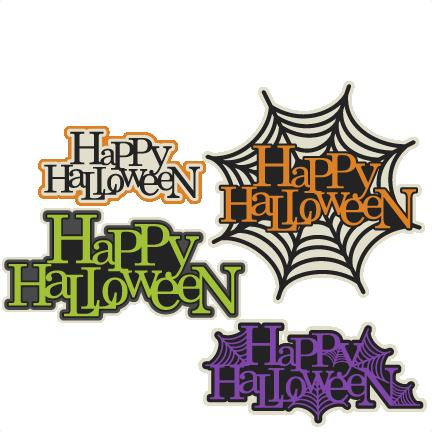 Happy Halloween Title Set SVG scrapbook cut file cute clipart ...