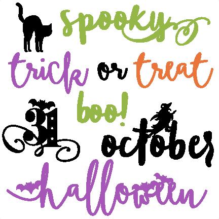 Halloween Words Set SVG scrapbook cut file cute clipart ...