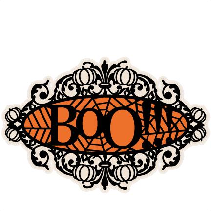Boo Halloween Title Frame SVG scrapbook cut file cute ...