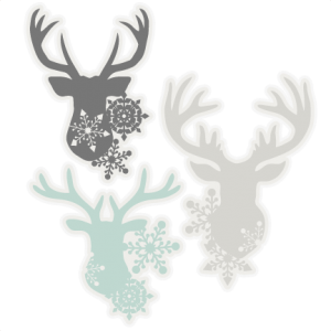 Snowflake Deer Head Set SVG scrapbook cut file cute clipart files for silhouette cricut pazzles free svgs free svg cuts cute cut files