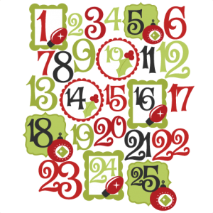 Christmas Countdown Number Set SVG scrapbook cut file cute clipart files for silhouette cricut pazzles free svgs free svg cuts cute cut files