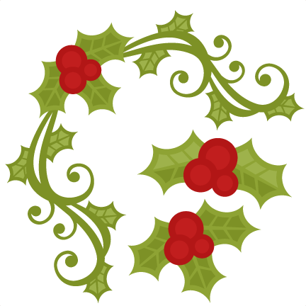 Christmas Holly Silhouette.Christmas Holly Set Svg Scrapbook Cut File Cute Clipart