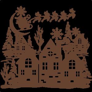 Christmas Scene SVG scrapbook cut file cute clipart files for silhouette cricut pazzles free svgs free svg cuts cute cut files