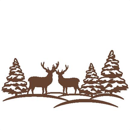 Reindeer Winter Scene SVG scrapbook cut file cute clipart files for silhouette cricut pazzles free svgs free svg cuts cute cut files