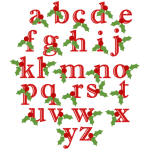 Holly Lowercase Alphabet Christmas SVG scrapbook cut file cute clipart files for silhouette cricut pazzles free svgs free svg cuts cute cut files