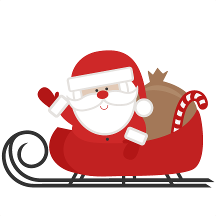 Santa In Sleigh Svg Scrapbook Cut File Cute Clipart Files For Silhouette Cricut Pazzles Free Svgs Free Svg Cuts Cute Cut Files