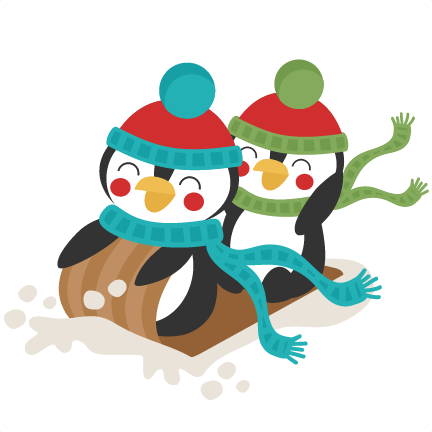Penguins Sledding Winter SVG scrapbook cut file cute clipart files for ...