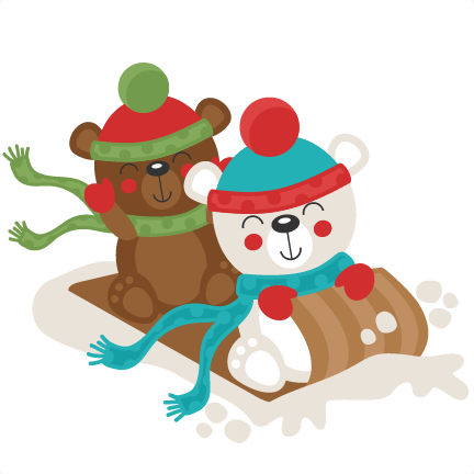 christmas polar bear sledding svg scrapbook cut file cute