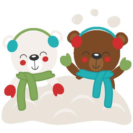 Christmas Bears In Snow Svg Scrapbook Cut File Cute
