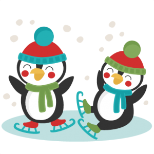 Penguins Ice Skating SVG scrapbook cut file cute clipart files for silhouette cricut pazzles free svgs free svg cuts cute cut files