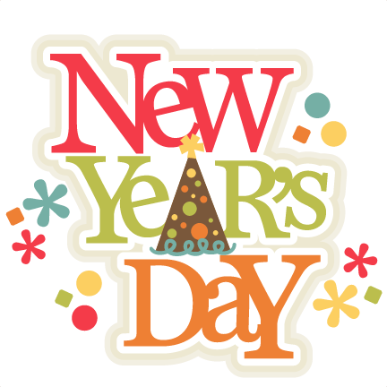 New Year's Day Title scrapbook cut file cute clipart files ...