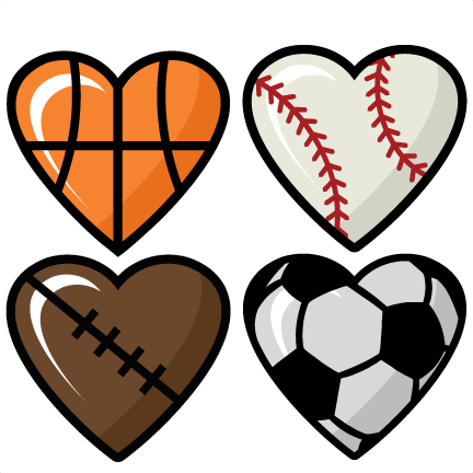 Sports Hearts Set Scrapbook Cut Cute Clipart S