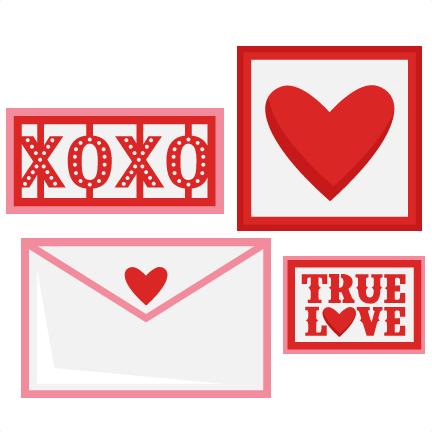 Valentine Love Letter Set SVG scrapbook cut file cute clipart