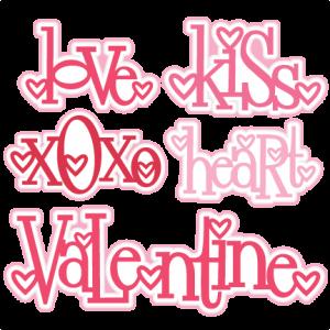 Heart Valentine Title Set SVG scrapbook cut file cute clipart files for silhouette cricut pazzles free svgs free svg cuts cute cut files