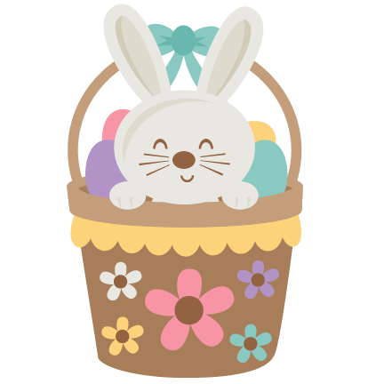 Easter Bunny In Basket Svg Scrapbook Cut File Cute Clipart
