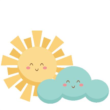Happy Sun and Cloud SVG scrapbook cut file cute clipart ...