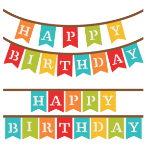 Happy Birthday Banners SVG scrapbook cut file cute clipart ...