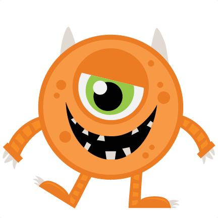 Large Orange Halloween Monster on Zip Your Mouth Clip Art