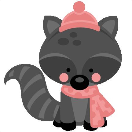 Girl Winter Raccoon SVG Scrapbook Cut File Cute Clipart