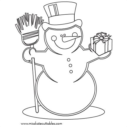 Snowman Coloring Page Svg Scrapbook Cut File Cute Clipart Files For
