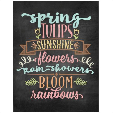 Spring Chalkboard Word Art SVG scrapbook cut file cute ...