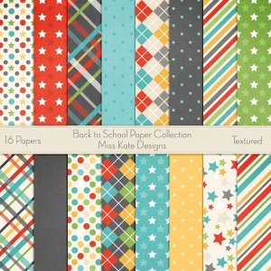 Miss Kate Cuttables Scrapbook Paper - Back to School Basics