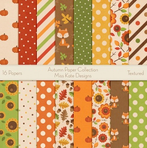 Miss Kate Cuttables Scrapbook Paper - Autumn