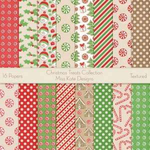 Miss Kate Cuttables Scrapbook Paper - Christmas Treats - Paper Pack