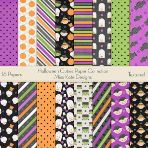 Miss Kate Cuttables Scrapbook Paper - Halloween Cuties - Paper Pack