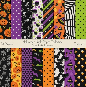 Miss Kate Cuttables Scrapbook Paper - Halloween Night - Paper Pack