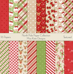 Miss Kate Cuttables Scrapbook Paper - North Pole - Paper Pack