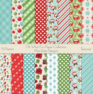 Miss Kate Cuttables Scrapbook Paper - Oh What Fun - Paper Pack