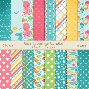 Miss Kate Cuttables Scrapbook Paper - Under The Sea - Paper Pack