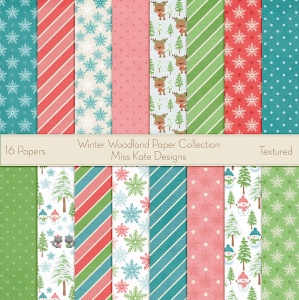 Miss Kate Cuttables Scrapbook Paper - Winter Woodland - Paper Pack