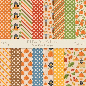 Miss Kate Cuttables Scrapbook Paper - Fall Days - Paper Pack