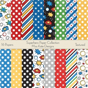 Miss Kate Cuttables Scrapbook Paper - Superhero - Paper Pack