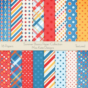 Miss Kate Cuttables Scrapbook Paper - Summer Basics - Paper Pack