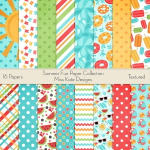 Miss Kate Cuttables Scrapbook Paper - Summer Fun - Paper Pack