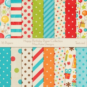 Miss Kate Cuttables Scrapbook Paper - Happy Birthday - Paper Pack
