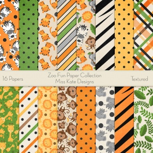 Miss Kate Cuttables Scrapbook Paper - Zoo Fun - Paper Pack