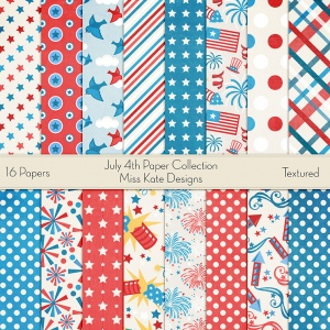 Miss Kate Cuttables Scrapbook Paper - July 4th - Paper Pack
