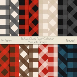Miss Kate Cuttables Scrapbook Paper - Buffalo Check - Paper Pack