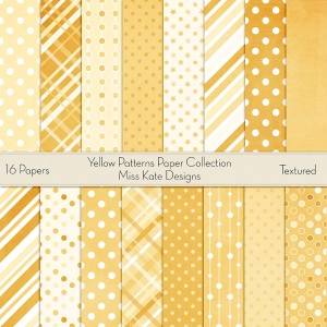Miss Kate Cuttables Scrapbook Paper - Yellow Patterns - Paper Pack