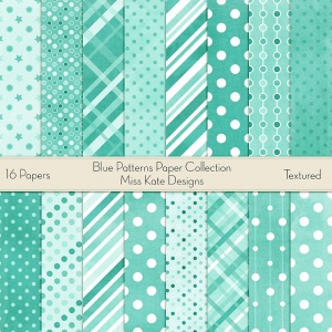 Miss Kate Cuttables Scrapbook Paper - Blue Patterns - Paper Pack