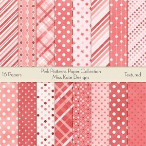 Miss Kate Cuttables Scrapbook Paper - Pink Patterns - Paper Pack