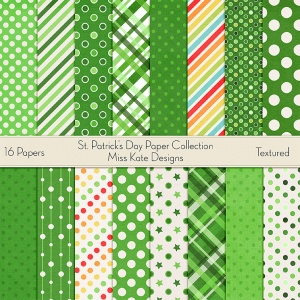 Miss Kate Cuttables Scrapbook Paper - St. Patrick's Day - Paper Pack