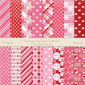 Miss Kate Cuttables Scrapbook Paper - Sending Love - Paper Pack
