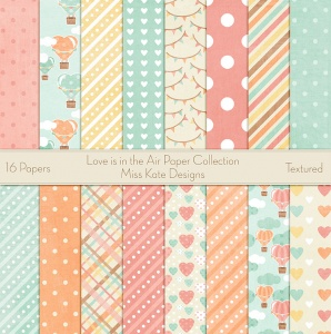Miss Kate Cuttables Scrapbook Paper - Love is in the Air - Paper Pack